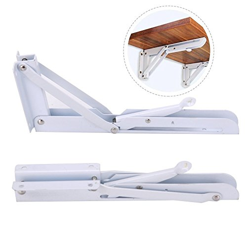 Accessbuy Folding Shelf Bracket Stainless Steel Triangle Wall Mount Support White Heavy Duty Shelf Brackets 2 PCS (8 inch) - 8in Shelf Bracket