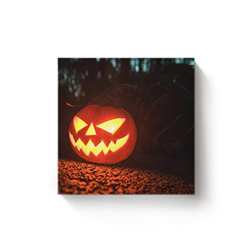 YEHO Art Gallery Square Canvas Wall Art Artwork Office Home Decor for Christmas,Horror Halloween Pumpkin Face Black and Orange Gallery Wrap Pictures,Stretched by Wooden Frame,Ready to Hang,20x20 Inch