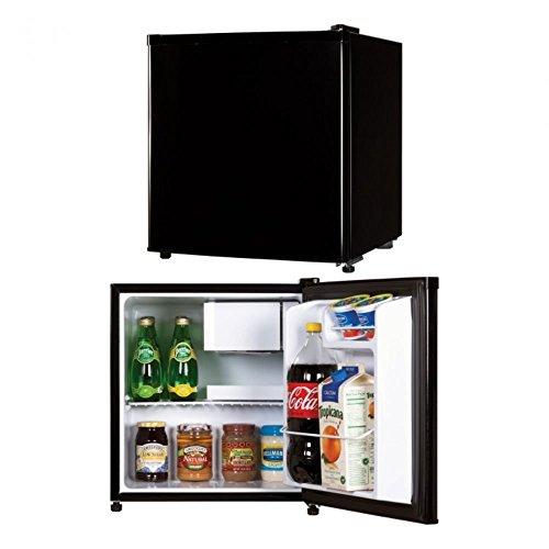 Black Electric Refrigerator (Impecca IMPRC1172K ClassicCompactRefrigeratorand Freezer, Single Door Reversible DoorRefrigerator1.7 cubic feet, Black)