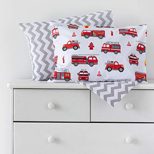 Cotton Bunny Fitted Sheet and 2 Pillowcases Set - Toddler/Crib - Premium 100% Cotton (Fire Trucks)