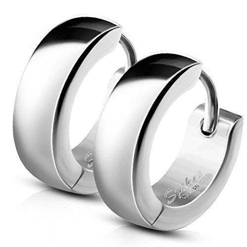 Bungsa Small Hoop Earrings, Silver Stainless Steel Earrings by Bungsa