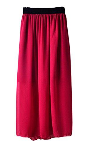 ezshe para mujer Cintura elástica banda gasa largo Midi falda rojo vino