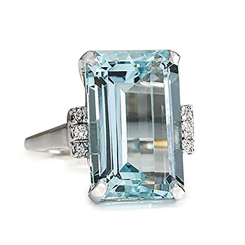 Gahrchian Crystal Ring Swarovski Topaz Ring Jewelry for Ladies Valentine's Wedding Anniversary Day Gift Band Jewelry (9, Blue) ()