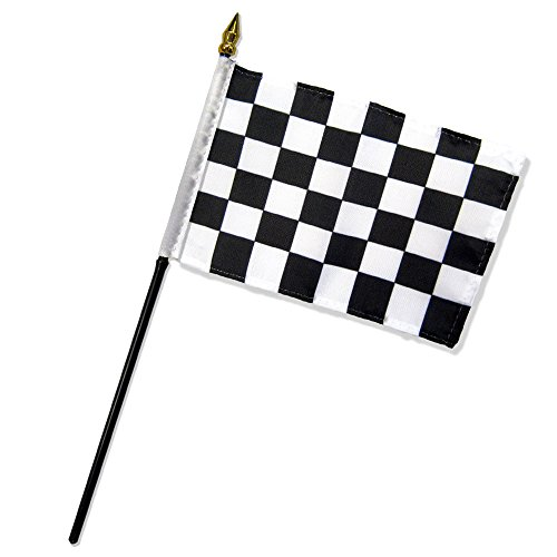 Quality Standard Flags One Dozen Checkered Stick Flag, 4 by 6