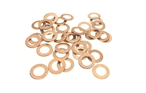 Thrust 1 Washer (YXQ 50Pcs 6x10x1mm Copper Crush Washer Flat Ring Seal Gasket Fitting M6)