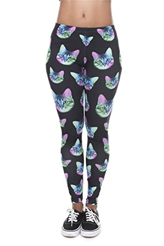 Festie Fever Printed Rave Leggings (Neon Space Cat)