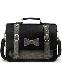 7bd0869214b Women Vintage PU Leather Messenger Shoulder Satchel Bag, Black