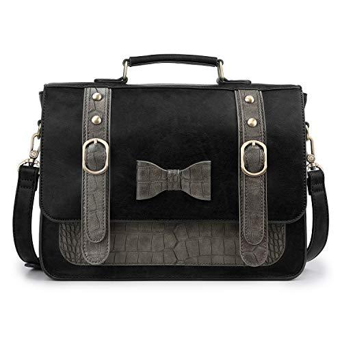 ECOSUSI Women Vintage PU Leather Messenger Shoulder Satchel Bag, Black