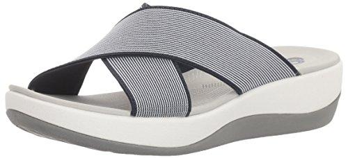 Clarks Womens Arla Elin Slide Sandal, Navy/White, 8 M US