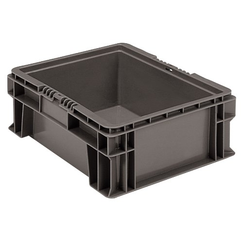 Buckhorn SW1512060206000 Plastic Straight Wall Storage Container Tote, 15-Inch by 12-Inch by 5.5-Inch, Dark Grey