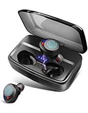 Wireless Headphones Bluetooth Earphones IPX8 Waterproof Deep Bass Stereo Sound Wireless Earphones Built-in Mic Bluetooth 5.0 Earbuds with 3000mah Charging Case