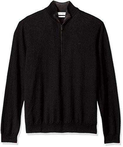 Calvin Klein Men's Merino End on End Check Quarter Zip Sweater, Black, X-Large by Calvin Klein