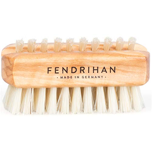 Fendrihan Travel Size Dual Sided Olivewood Nail and Hand Brush with Natural Boar Bristles 2.3'' (Made in Germany) by Fendrihan