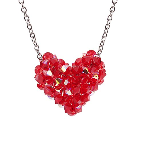 Swarovski Crystal Red Woven Puffy Heart Necklace with Stainless Steel chain Swarovski Crystal Puffy Heart Pendant
