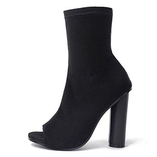 mujeres de GAOLIXIA Hollow altos cuero peep de de tela arranque marrón elástico negro toe las tacones Sandalias Black de 66wgqr0A