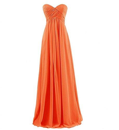 Promkleider Orange Abendkleider Milano Bride Lang Rock Herzausschnitt Empire Partykleider Herrlich aus Chiffon ngqawq7X