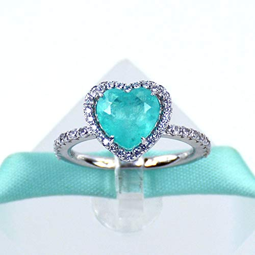 Heart Blue Paraiba Tourmaline Promise Ring Engagement Ring, 925 Sterling Silver, Platinum Plated