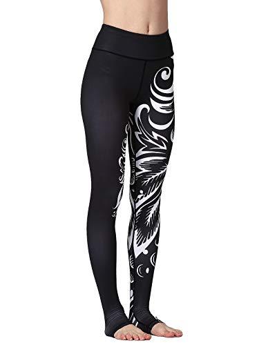 FLYILY Donna Leggings Sportivi Elastico Stampa Floreale Pantalone da corsa da donna Leggings a vita alta Pantaloni da yoga lunghi elasticizzati