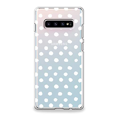 CasesByLorraine Samsung Galaxy S10 Case, White Polka Dots Pattern Clear Transparent Case Flexible TPU Soft Gel Protective Cover for Samsung S10 - Dots Colorful Polka Cover