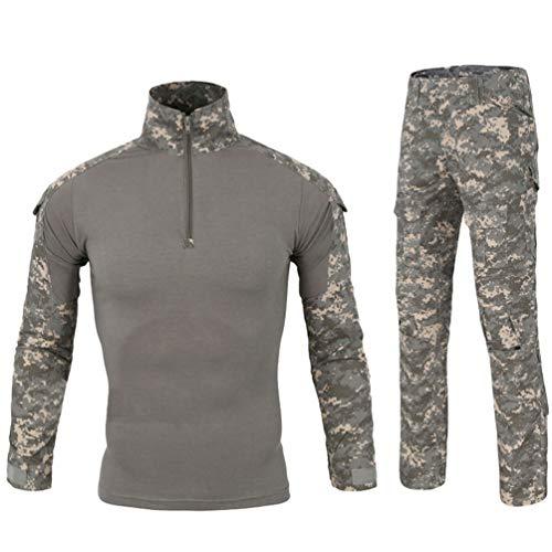 Traspirante Collar Zipper Set Camo T Mimetico Uniformi Combat Abbigliamento Yuandian Manica Militare Uomo Esercito Caccia Pezzi Maglietta Upc Outdoor Tattico Shirt Pantaloni Lunga Camouflage 2 EDWIY9H2