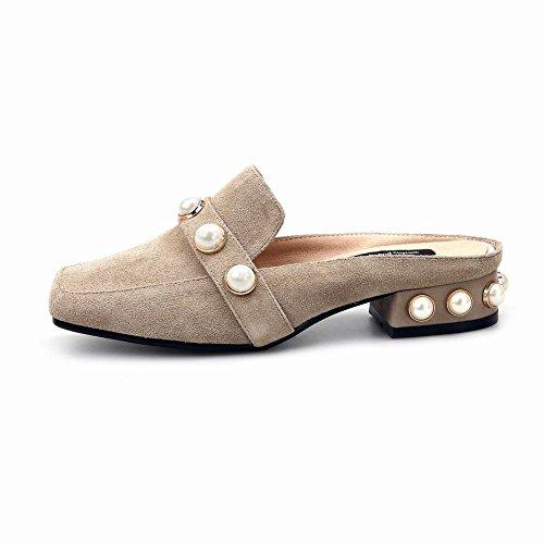 Mee Shoes Damen bequem vierkant Nubukleder Pantoletten Camel