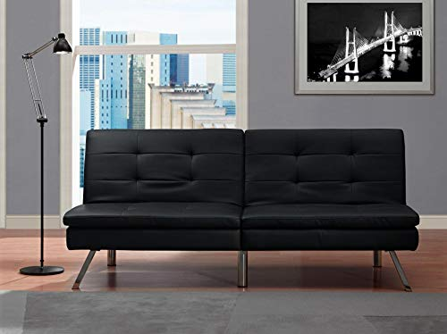 DHP Chelsea Convertible Splitback Futon Couch with, multifunctional - - Futon Ottoman