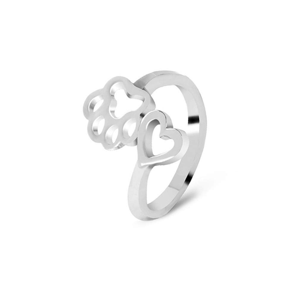 GOMYIE Creative Women Lucky Dog-Paw Shaped Ring Adjustable Hollow Print Love Heart Toe Ring Jewelry(sliver color)