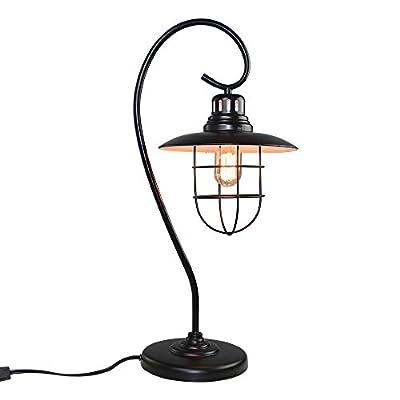 LNC Industrial Table Lamp, Black Desk Lamp for Living Room, Bedroom, Office