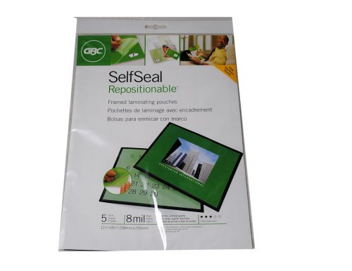 Self Seal Repositionable Laminating Pouches - GBC 5 Self Seal Repositionable Framed Laminating Pouches