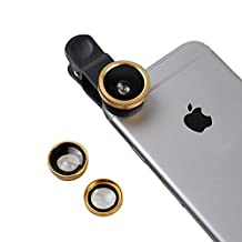 ONX3 Samsung Galaxy S5 / S5 Neo / S5 (octa-core) / S5 Duos / S5 Plus / S5 LTE-A G901F / S5 LTE-A G906S / S5 CDMA (Gold) Mobile Phone Universal Camera Lens 3 in 1 Kit Wide Angle Lens + Fisheye Lens + Macro Lens with Clip-on 180 Degree For Both Android and iOS Devices