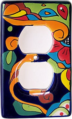 Fine Crafts Imports Rainbow Talavera Outlet Switch - Talavera Plate Large