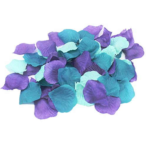 ALLHEARTDESIRES 900 Pack Mixed Purple Mint Teal Silk Artificial Flower Petals for Wedding Centerpieces Under The Sea Mermaid Baby Shower Birthday Bridal Shower Party Decoration