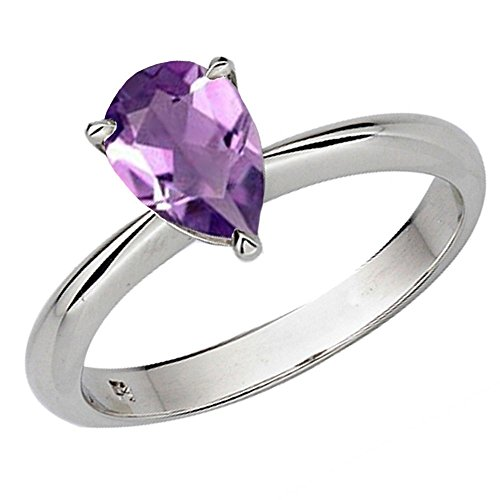 Dazzlingrock Collection Sterling Silver 9X7 MM Pear Amethyst Solitaire Bridal Engagement Ring, Size 10 ()
