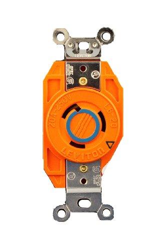 Mount Flush 250v (Leviton 2320-IG 20 Amp, 250 Volt, Flush Mounting Locking Receptacle, Industrial Grade, Isolated Ground, V-0-MAX, Orange)