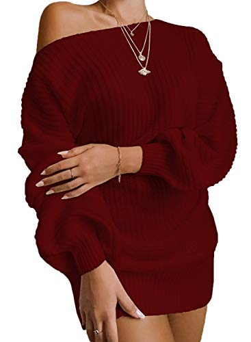 AROGONE Womens Casual Off The Shoulder Balloon Sleeve Pullover Sweater Dress Oversized Loose Cable Knit Tunic Dresses Red Medium