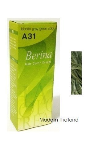 Berina Permanent Hair Dye A31 -Blonde Gray Green Color Collection Thai 1 Pack by Berina