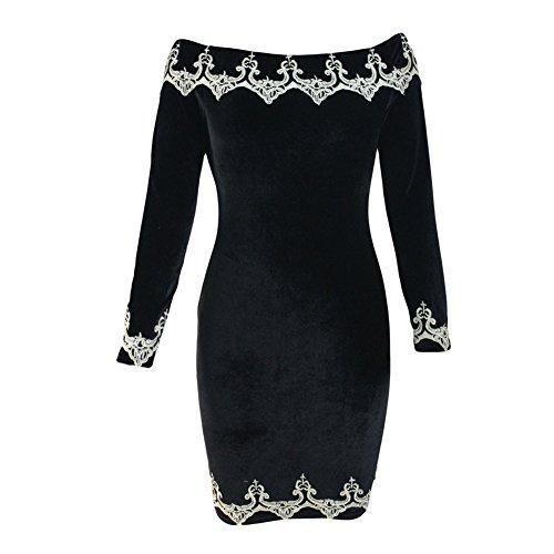 YeeATZ Women Black Embroidered Hem Velvet Party Dress(Size,L)