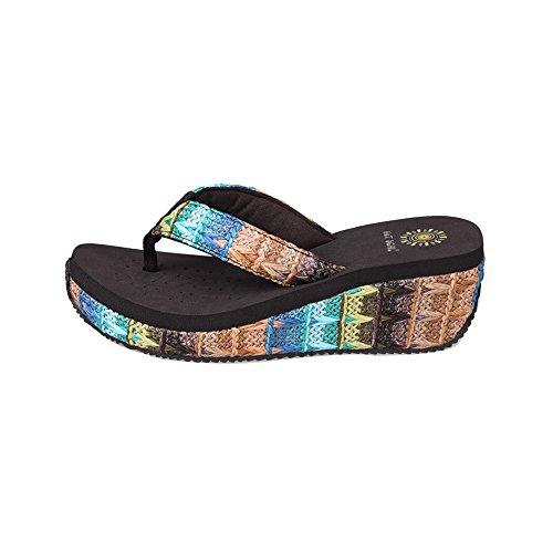 Scarpe Donna Zeppa Flip Flip Sandali di Svago Boemia Più Colori tra cui Scegliere, 5263 Brown, 35