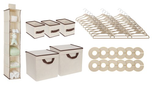 Delta Children Nursery Storage Set, Beige, 48 Piece