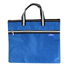 Uxcell Oxford Fabric A4 Paper Folder Document File Zip Closure Handbag, Blue