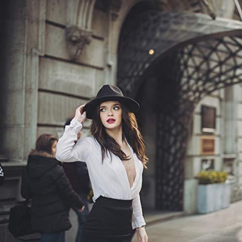 Lanzom Womens Classic Wide Brim Floppy Panama Hat Belt Buckle Wool Fedora Hat