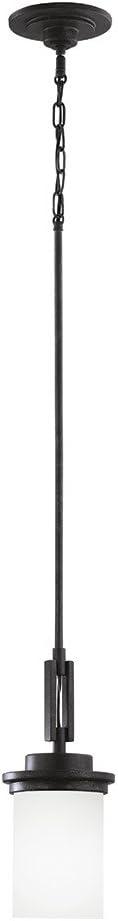 Sea Gull Lighting 61660-839 Winnetka One-Light Mini Pendant Lights With Satin Etched Glass Shade, Blacksmith Finish