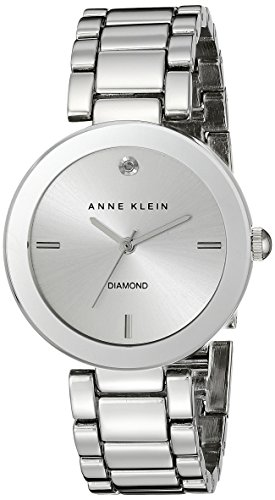 Anne Klein Women's AK/1363SVSV  Diamond Dial Silver-Tone Bracelet Watch