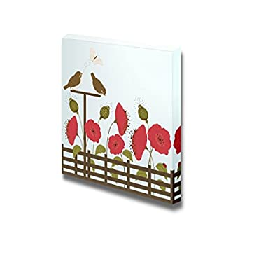 Canvas Prints Wall Art - Cute Birds in Garden with Butterfly and Flowers - 12