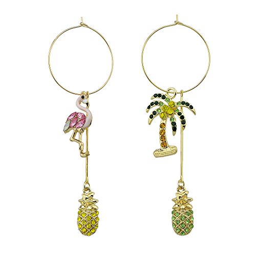 Tree Shape Earring (Feelontop Gold Tone Asymmetry Hoop Flamingo Coconut Tree Shape Pineapple Drop Earring with Jewelry Pouch (pink))