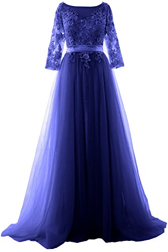 MACloth Women Half Sleeve Lace Tulle Maxi Prom Dress Evening Formal Gown Azul Real