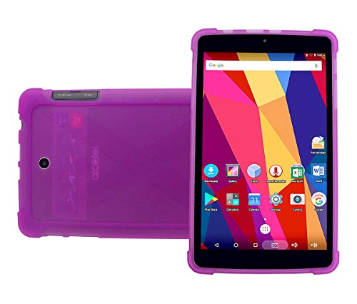 iShoppingdeals Compatible Protective TPU Case Replacement for T-Mobile Alcatel A30 8-inch Tablet 9024W 2017 Release (Purple)