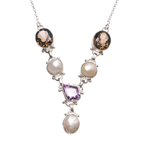 Natural Biwa Pearl,Amethyst and Smoky Quartz Handmade Vintage 925 Sterling Silver Y Necklace 17.75