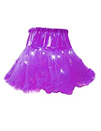 Bestgift Women's Solid Color LED Light Up Layered Party Tulle Tutu Skirt