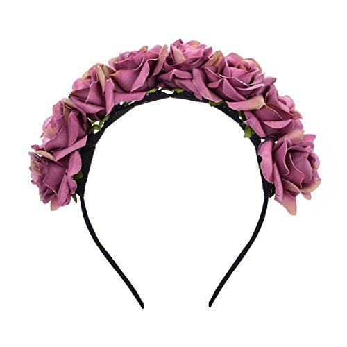 June Blooomy Rose Flower Crown Wreath Floral Headband Wedding Fesitval Woodland Photo Shoot (Purple)